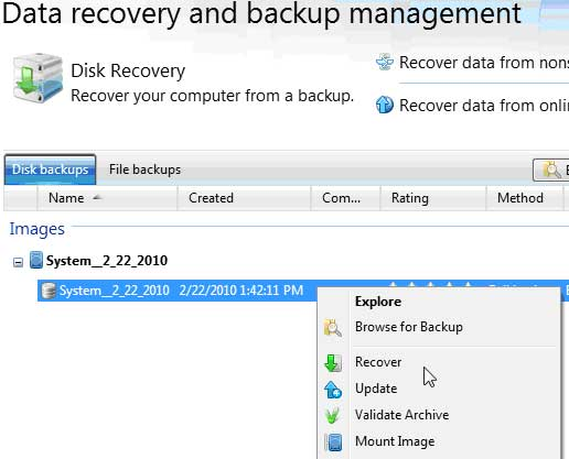 THe Data Recovery and Backup Management Console