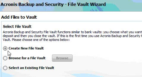 Create a New File Vault